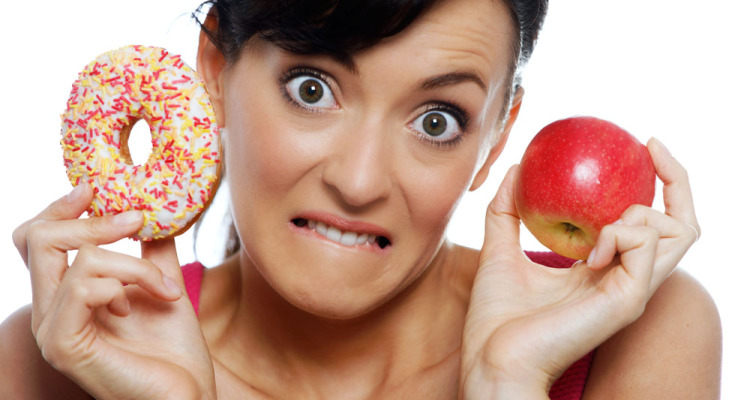Lady-Holding-Donut-and-Apple
