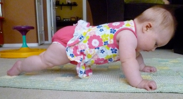 baby doing a plank