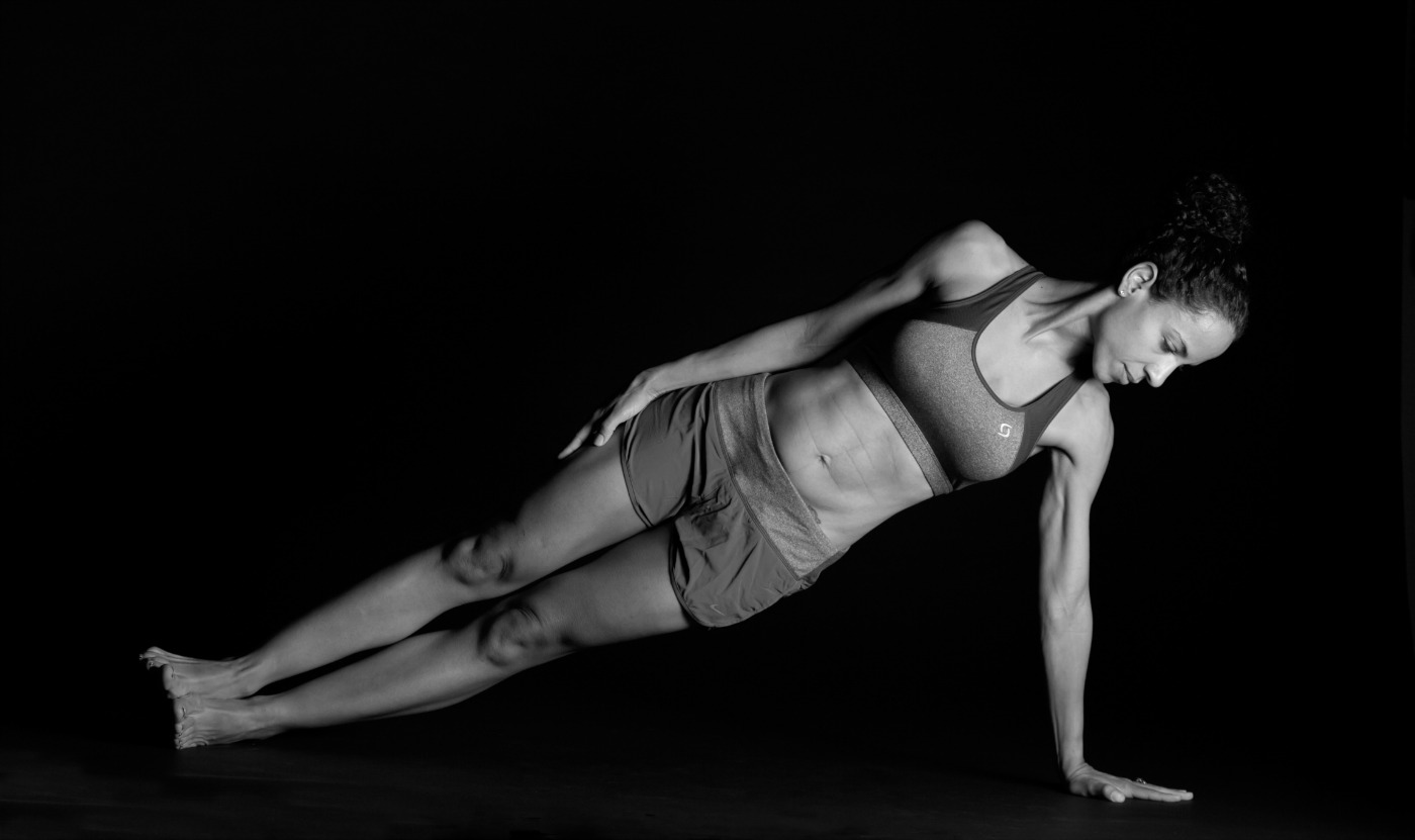 women side planking black & white photo