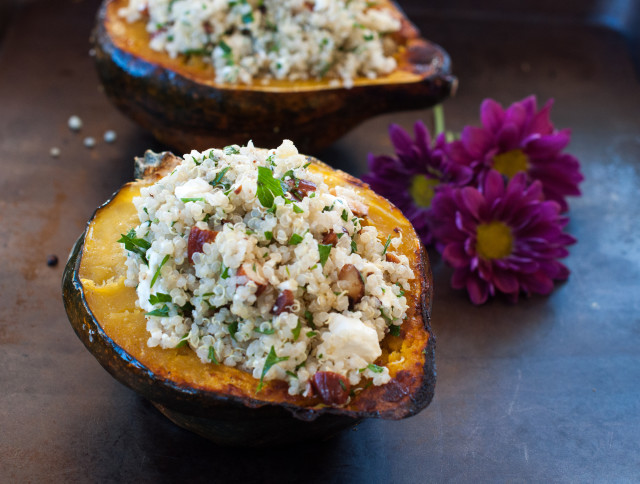 Acorn Squash stuffed with Quinoa and Roasted Almonds