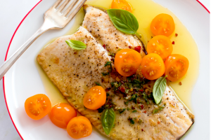 PAN-ROASTED TROUT WITH TOMATOES AND HERBED OLIVE OIL