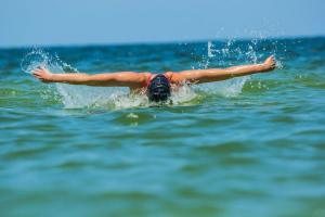swimmer in ocean