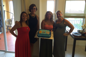 Pregnant woman with friends at shower