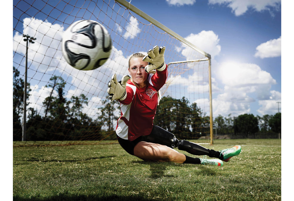 adaptive sports athlete and soccer goalie bree